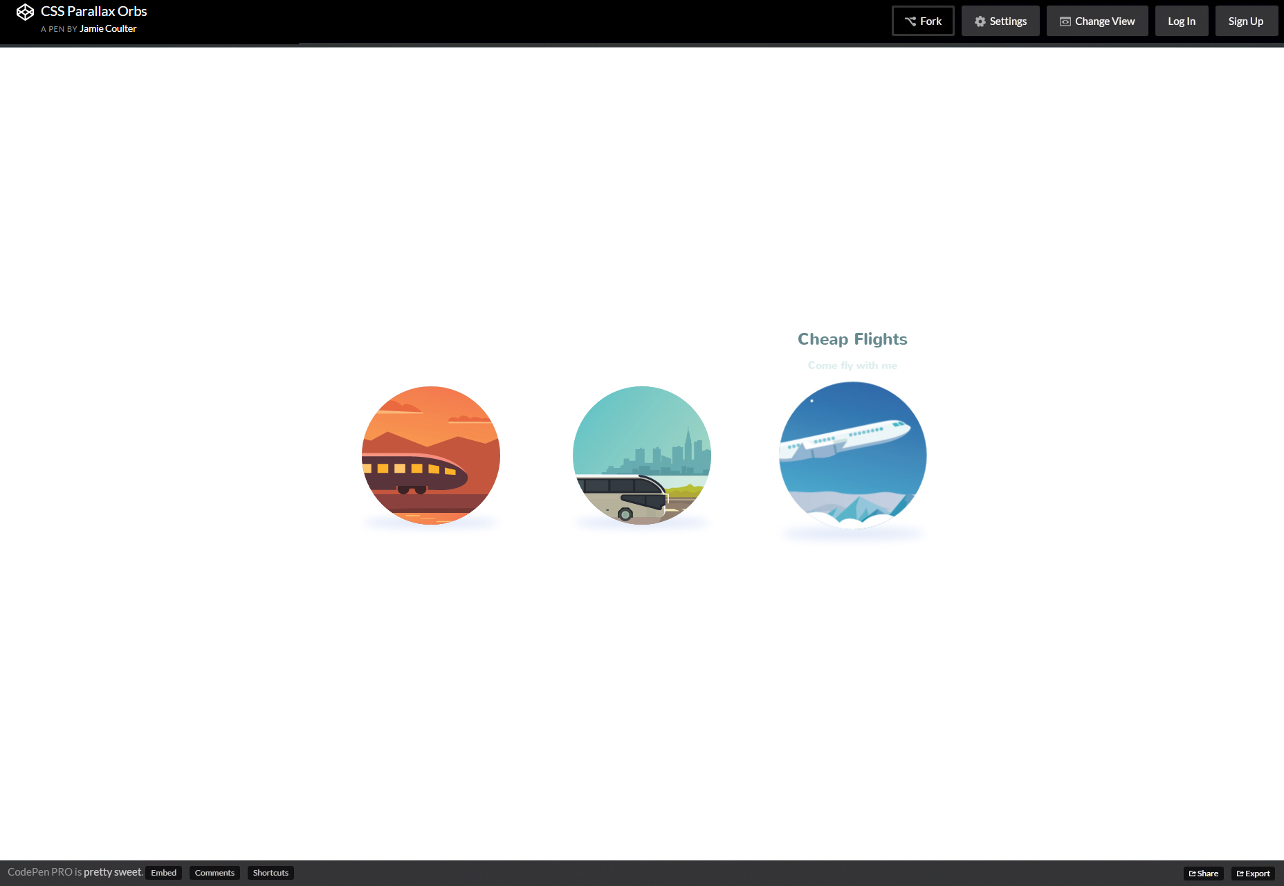 CSS Hover Parallax Animation Orbs