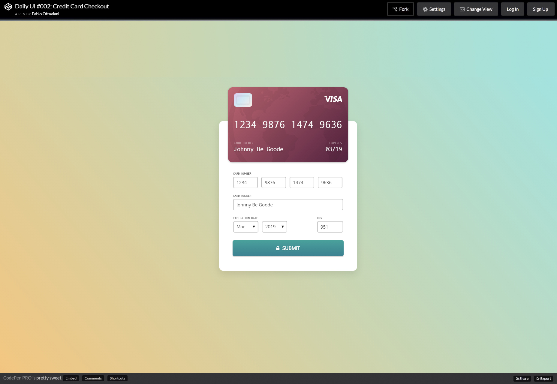 Live Credit Card Mockup Checkout Form