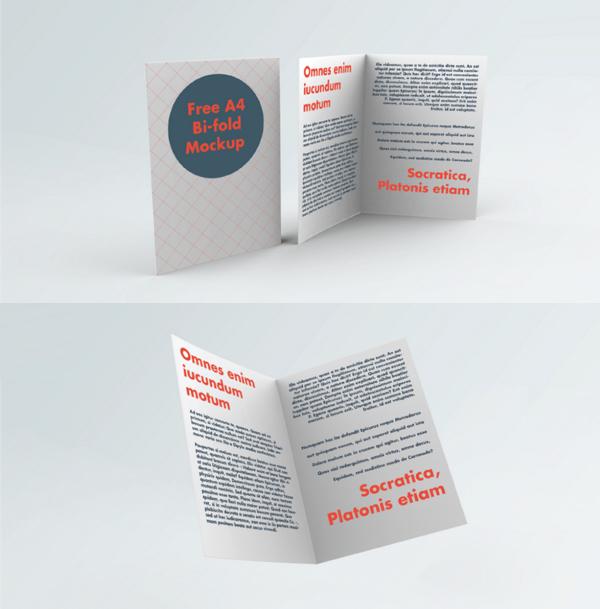 Free A4 Bi-Fold Brochure Mockup