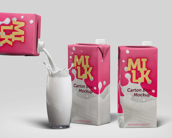 Free Milk Carton Box Mockup PSD