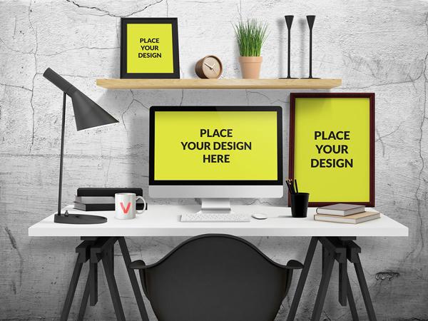 Free PSD Desk Mockup