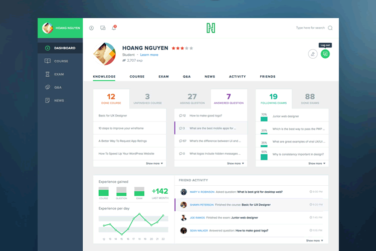 free template Flat Course Admin Dashboard sketch