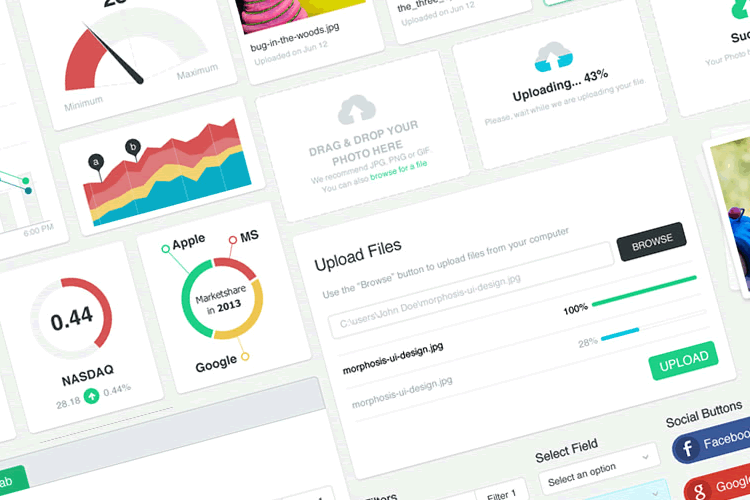 Morph-UI Flat Dashboard UI Kit free png psd