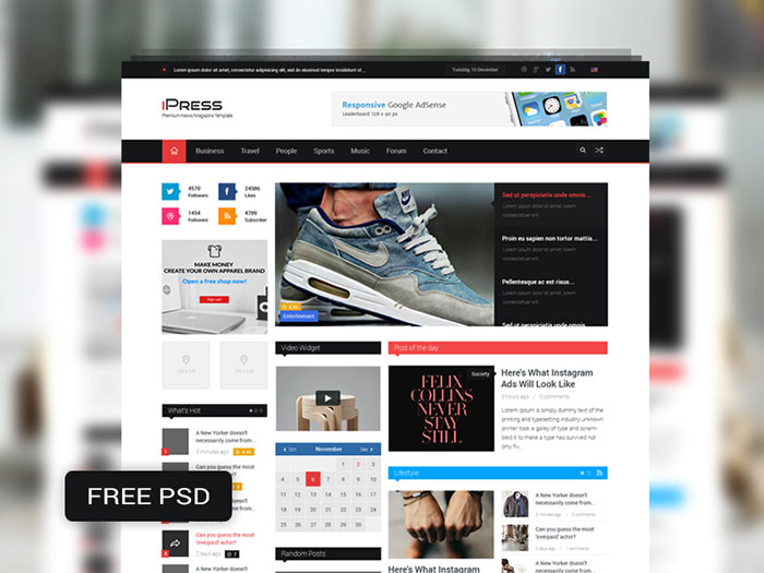iPress Free PSD Magazine & Blog Template