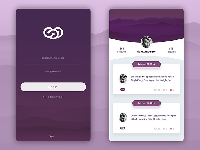 Mobile User Interface Login Form Design Inspiration - iDevie
