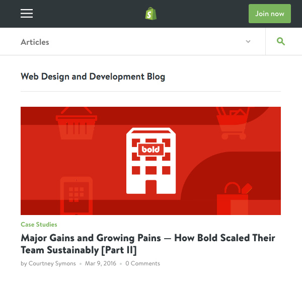 The Shopify Partner Blog uses article images to provide hero images for each post