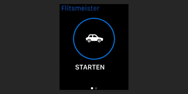 The Flitsmeister app has one button to start the application