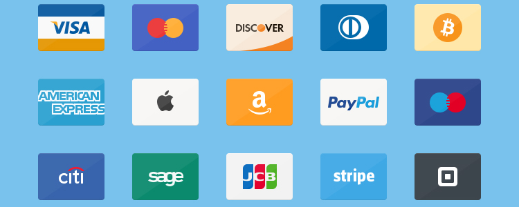 Flat Credit Cards Icon Set PSD