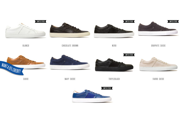 Greats cleverly showcase their shoes using product images on their stores home page