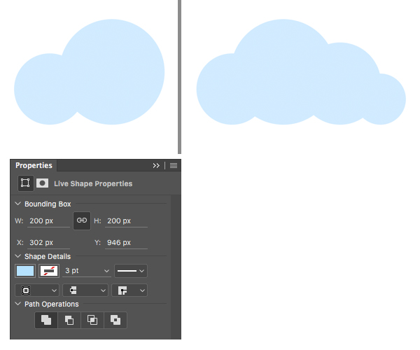 make a cloud from circles with ellipse tool