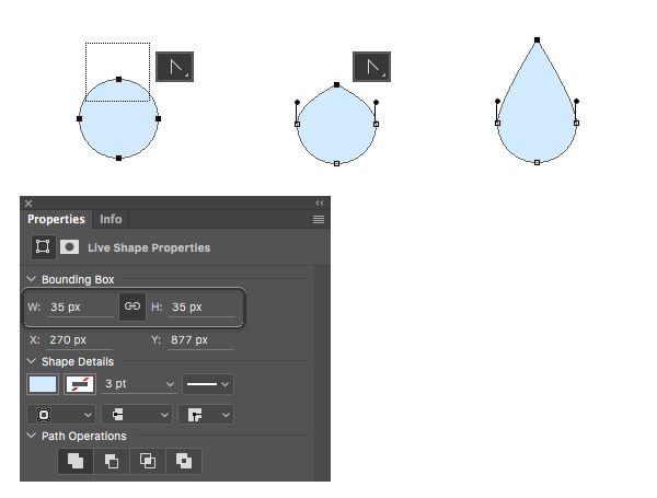 make a rain drop with ellipse tool and convert point tool