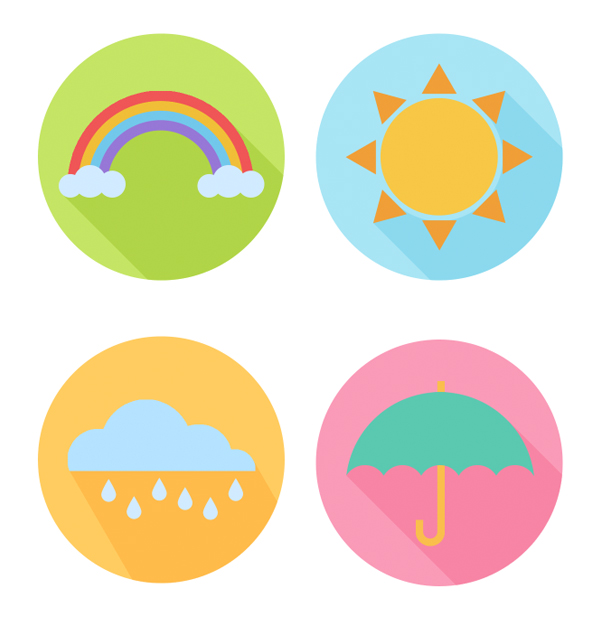 clean flat set of April weather icons is ready