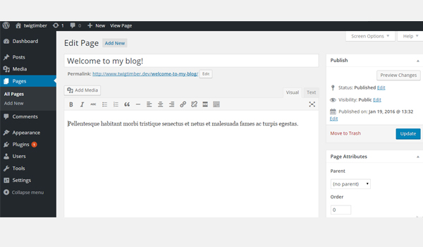 adding a new page in twig