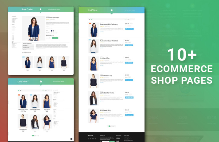 intense - ecommerce page templates
