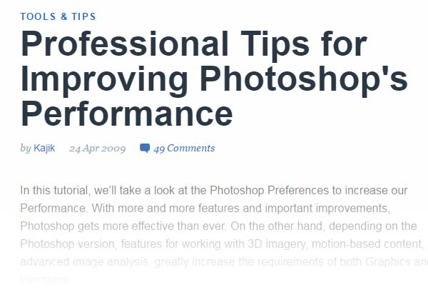 Professional Tips for Improving Photoshops Performance