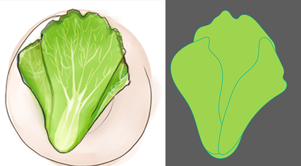 Draw your romaine lettuce base