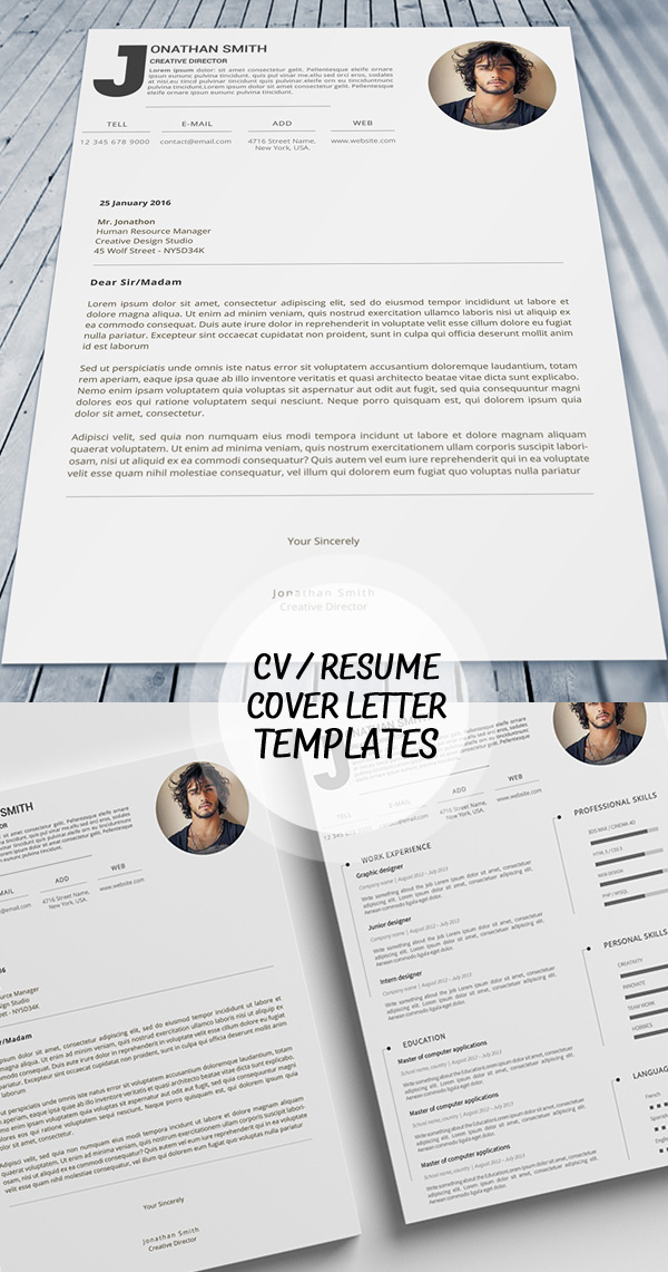 Premium Cv Design Template & Cover Letter