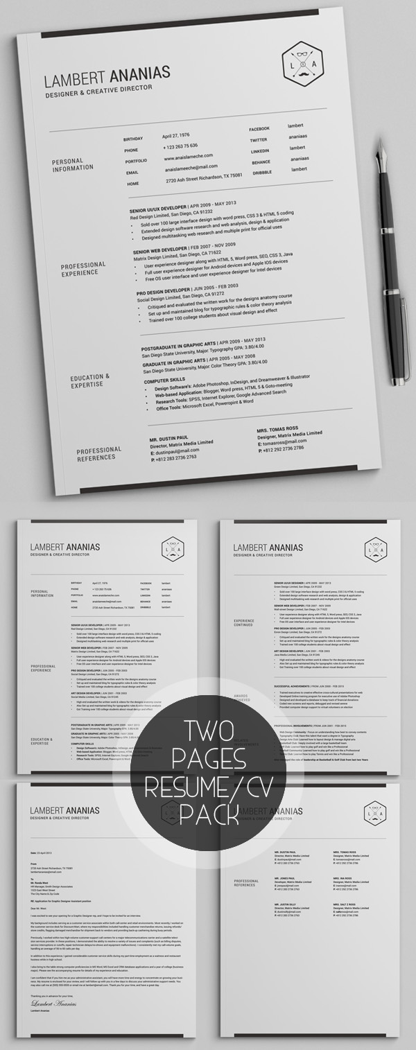 two pages resume cv pack - Professional Cv