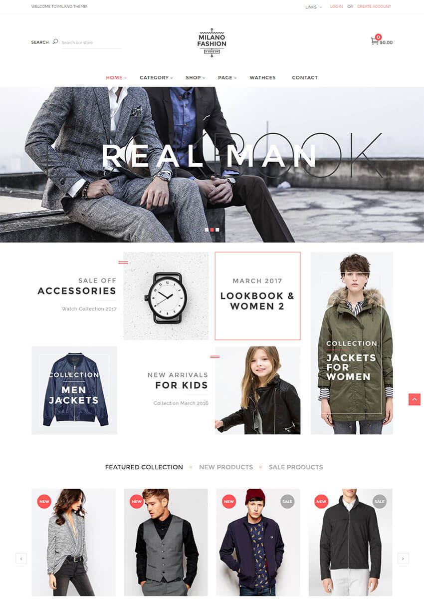 Milano Modern Shopify Theme Design