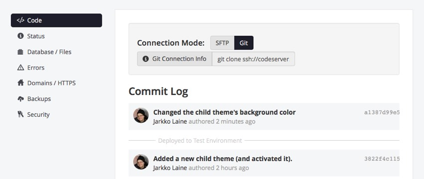 Commit Log shows the latest change