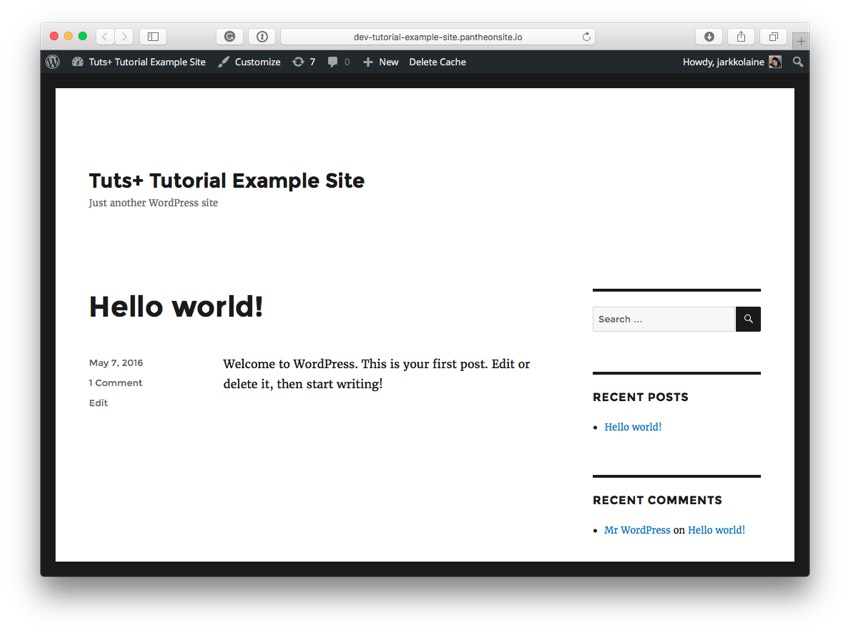 The new WordPress site running the Twenty Sixteen theme