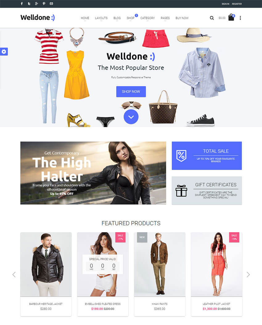 20 best shopify themes with beautiful ecommerce designs idevie welldone material responsive shopify theme pronofoot35fo Image collections