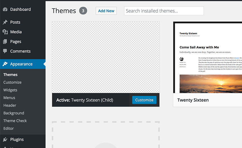 WordPress List of Theme Interface in the Dashboard