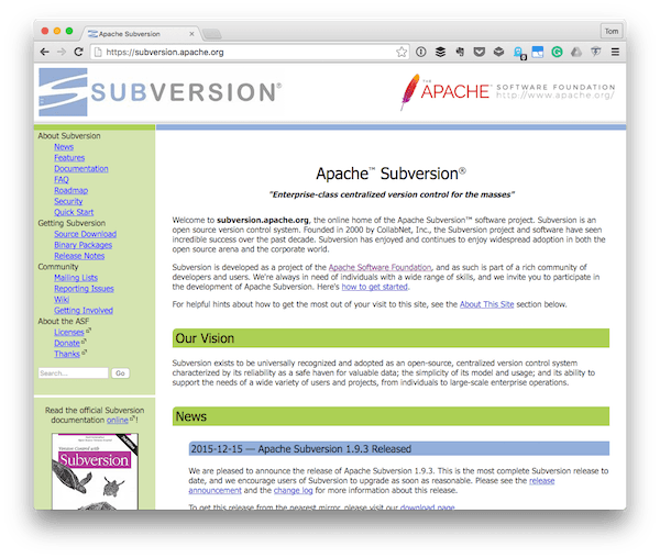 The Subversion homepage