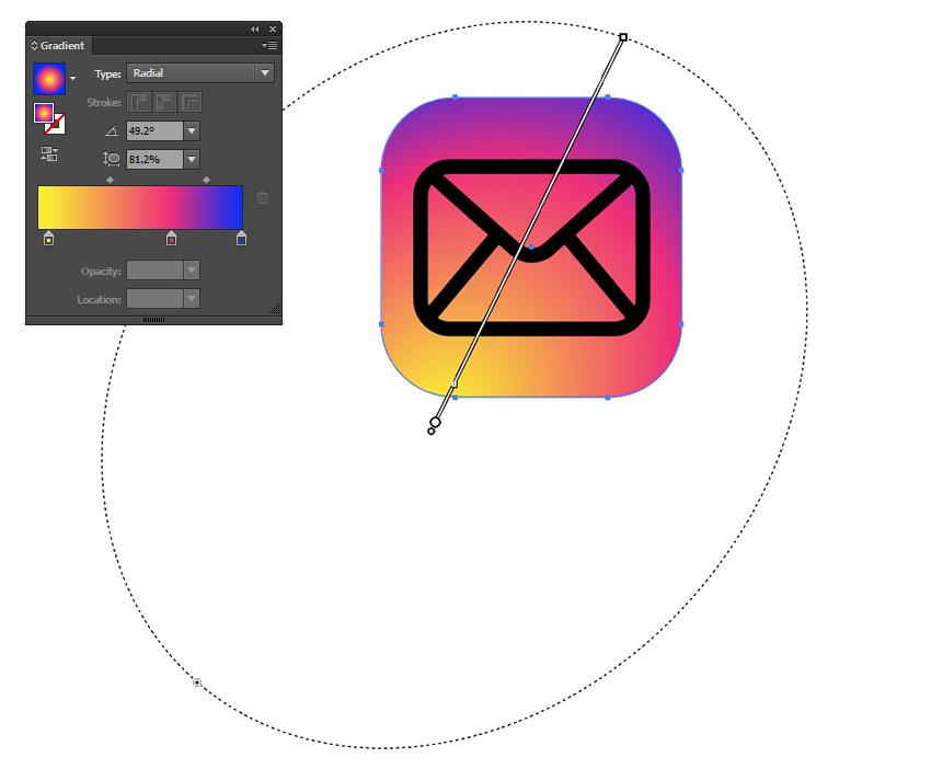 Adjust the gradients radius and aspect ratio