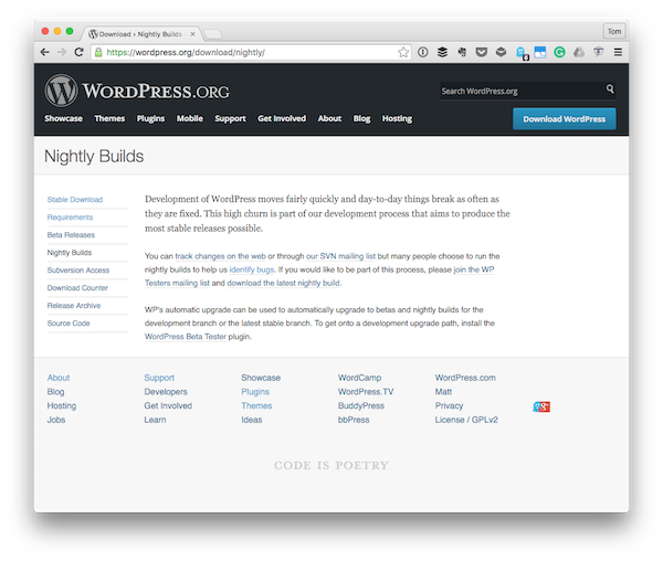 The Nightly Builds page for the WordPress project