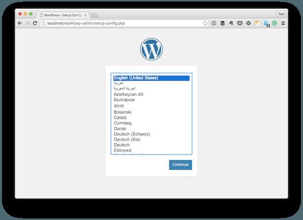 The WordPress Installation screen