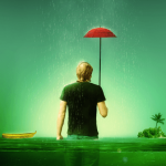 Create a Melancholic Scene of a Guy Standing in the Rain