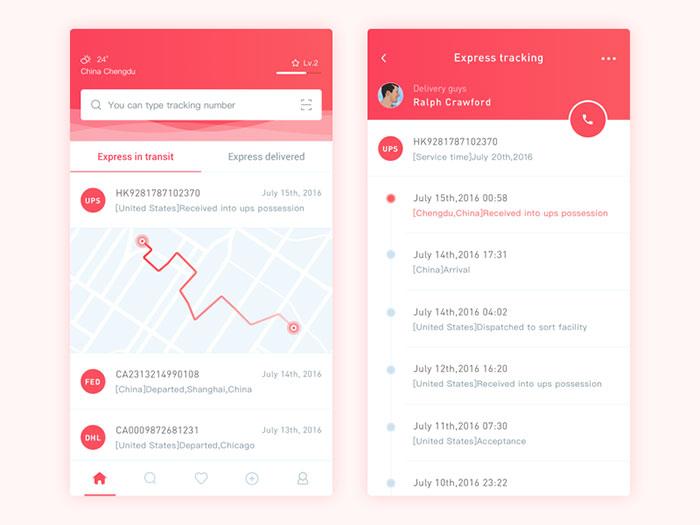 Express Tracking App Design