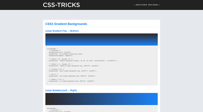 CSS3 Gradient Backgrounds