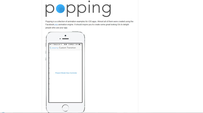 Popping: A collection of animation examples for iOS apps