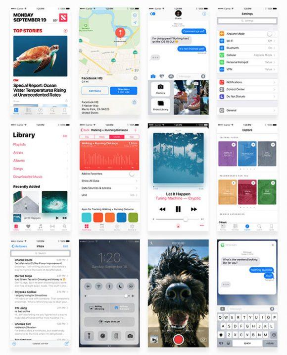 Facebook iOS 10 UI kit - Full preview
