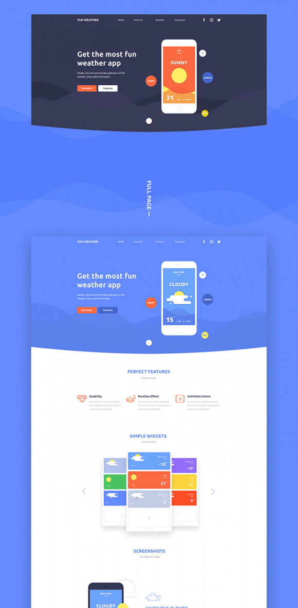 Fun Weather landing page Preview