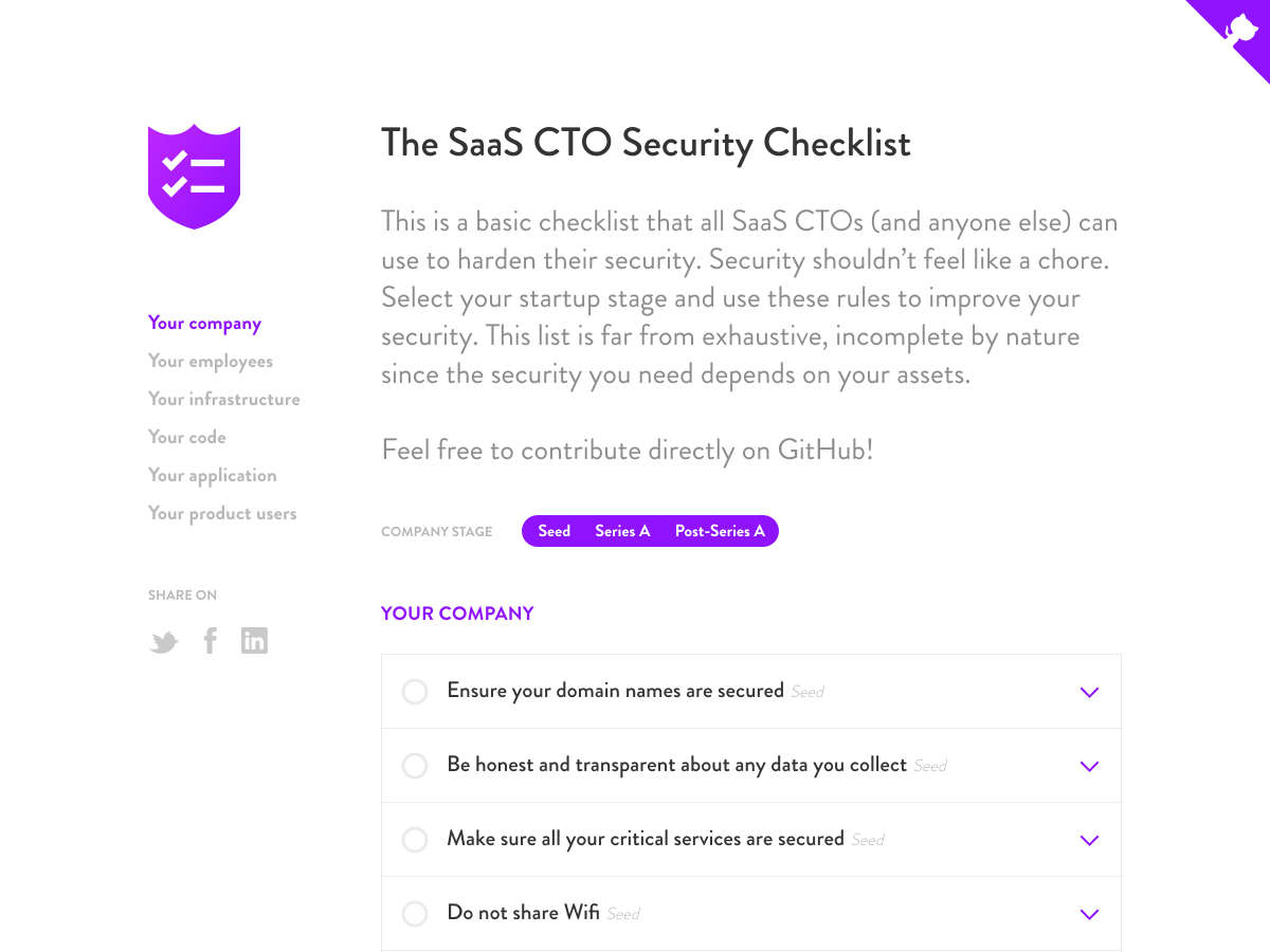 The SaaS CTO Security Checlist
