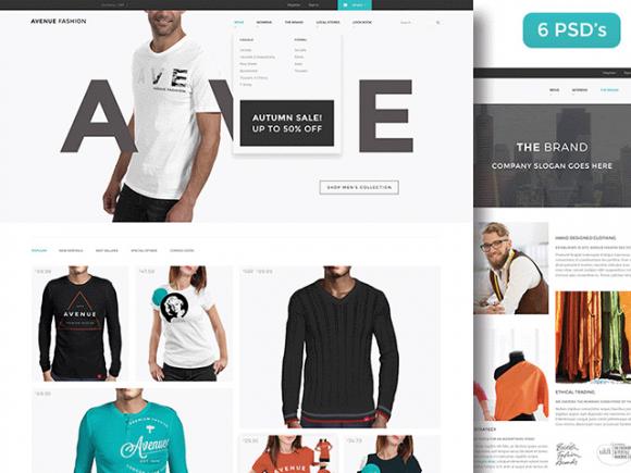 Avenue Fashion: Free PSD ecommerce template