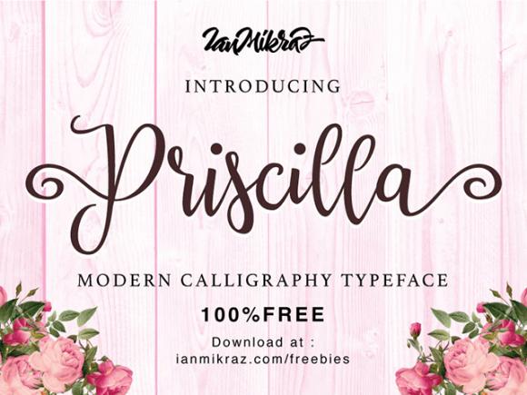 Priscilla: A free calligraphic font