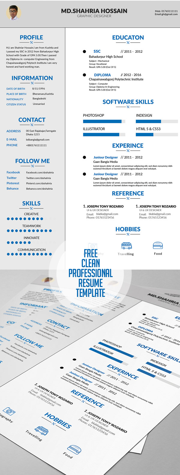 20 Free Cv Resume Templates 2017 With Cover Letter Portfolio
