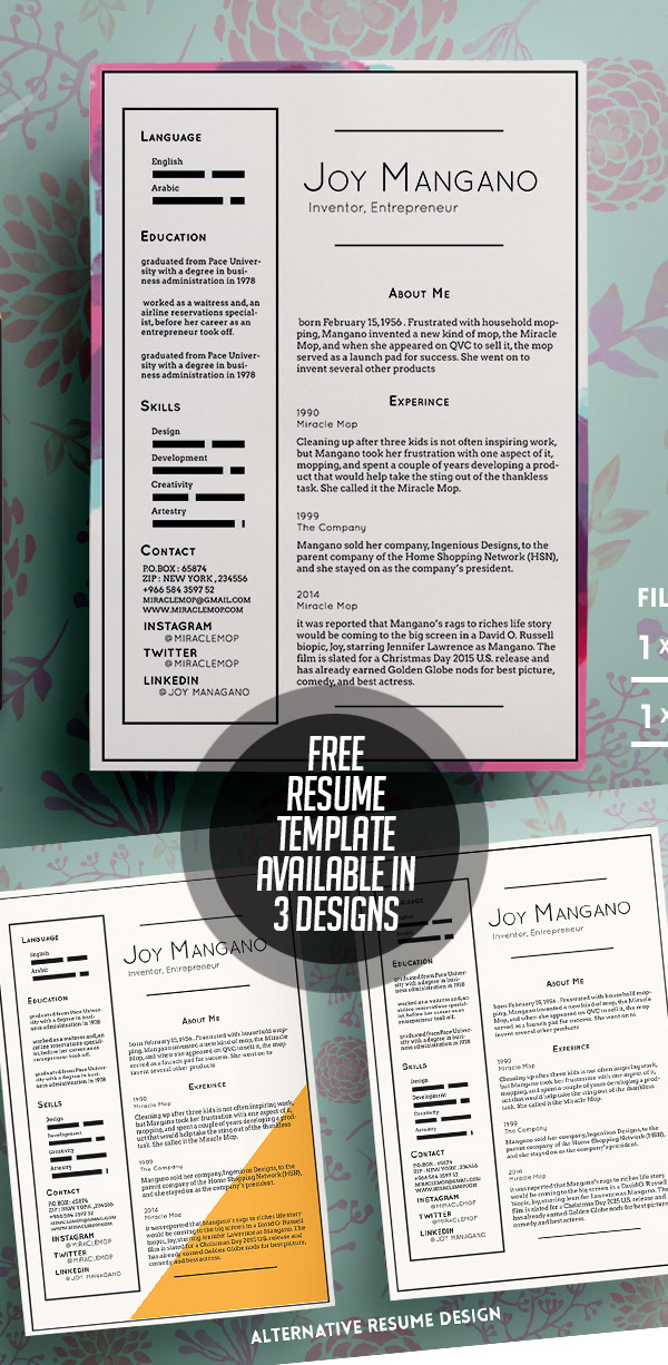 Free Resume Templates Available in 3 Designs