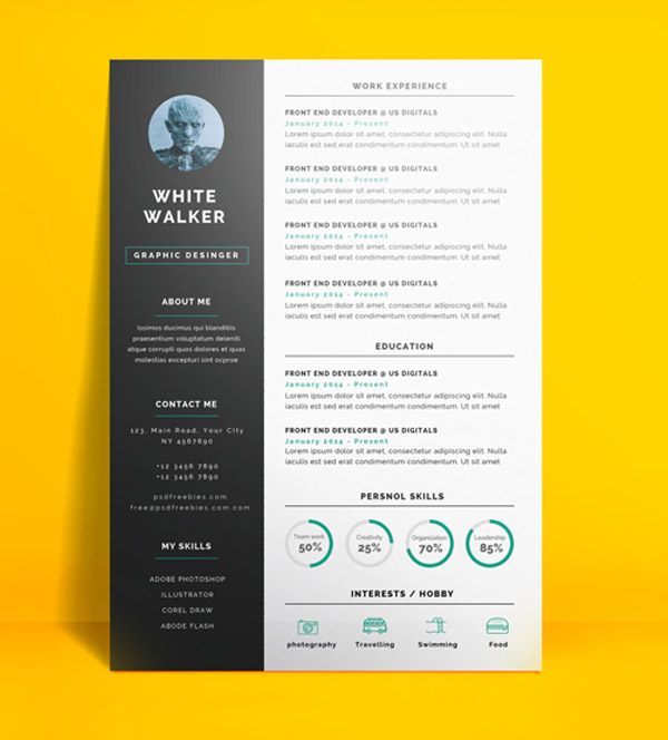 Freebie : Simple and Clean Resume CV Template PSD
