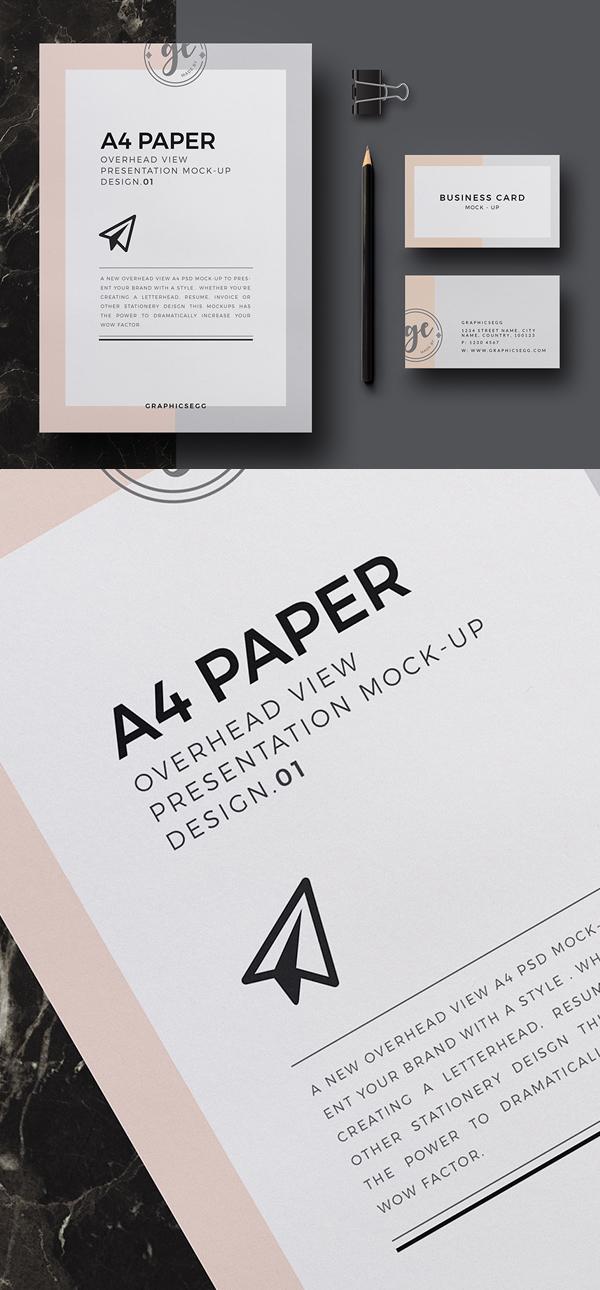 free a4 paper overhead mockup design