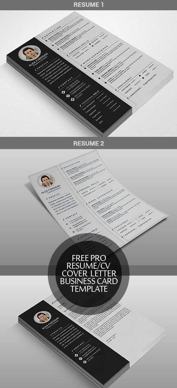 Free Resume/CV + Cover Letter + Business Card Template