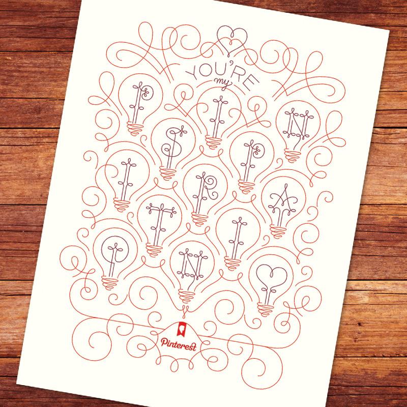 Line art Valentine's day poster