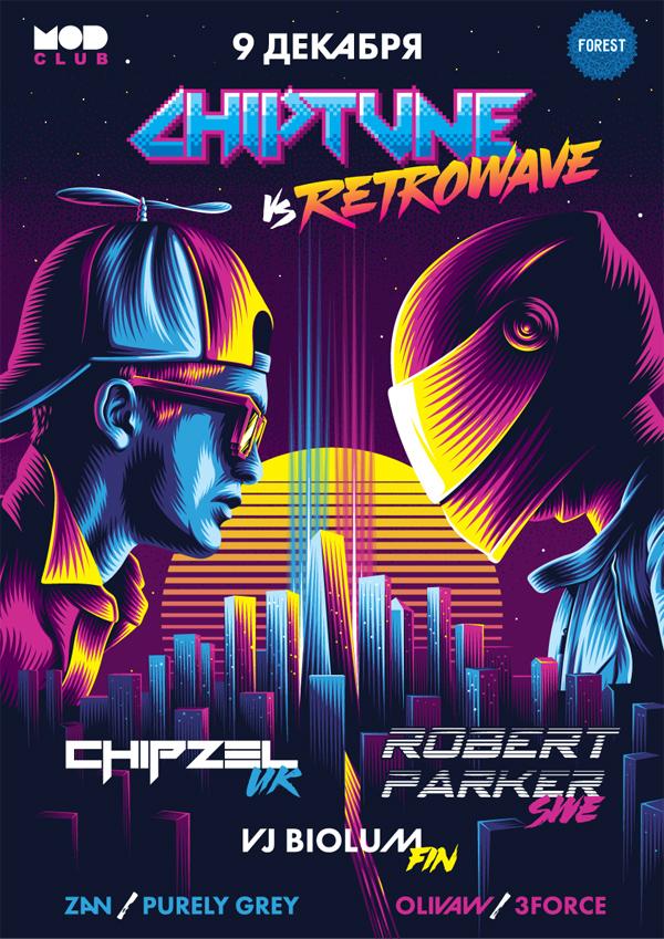 Chiptune vs. Retrowave Poster