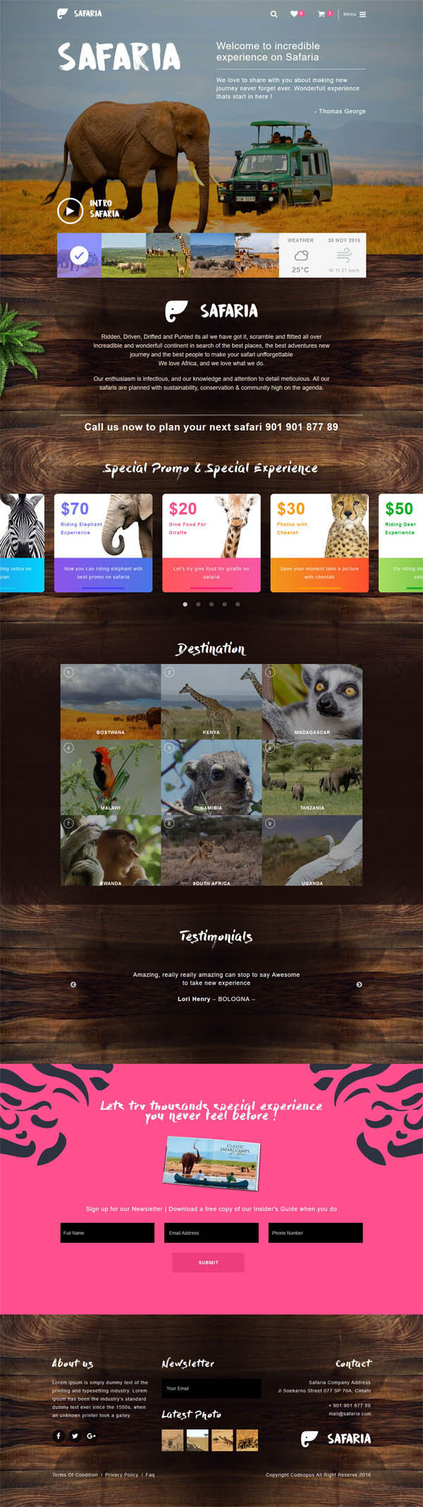 Safaria - Safari & Zoo WordPress Theme