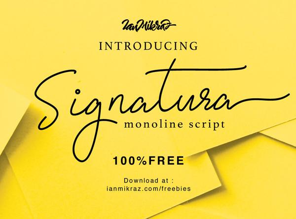 Signatura Monoline Script Free Font