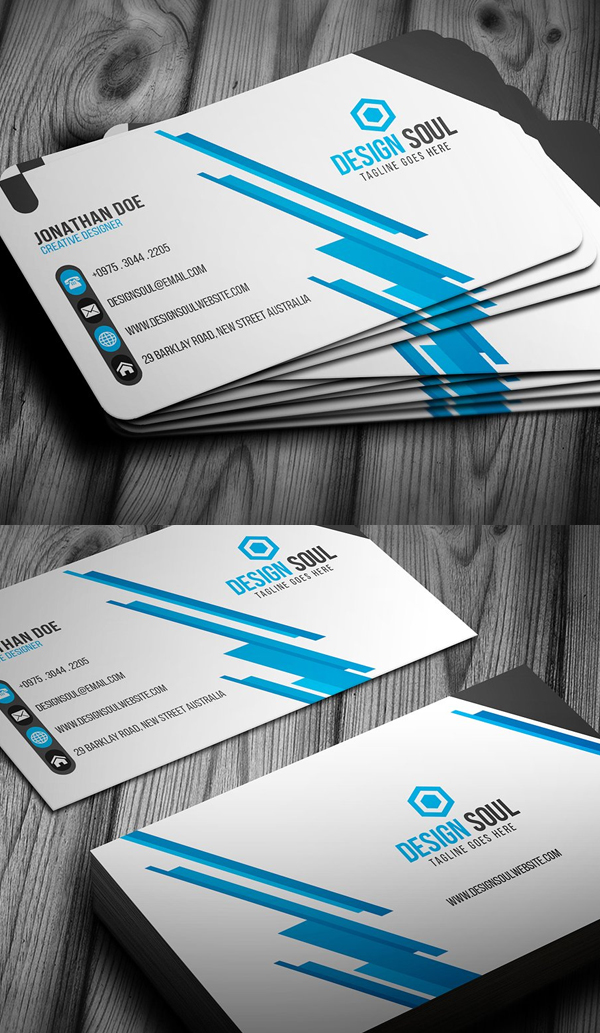 25 new modern business card templates print ready design idevie blue corporate business card design reheart Gallery